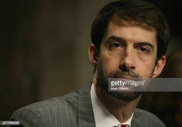 Sen Tom Cotton listens to testimony during a Senate Armed Services Committee hearing on Capitol Hill February 2 2016 in Washington DC The committee...