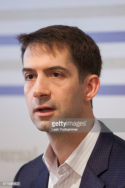 Sen Tom Cotton particpates in a panel on 'Culture Shock Vets and the Battle Back Home' hosted by The Atlantic and The National Journal at Teddy The...