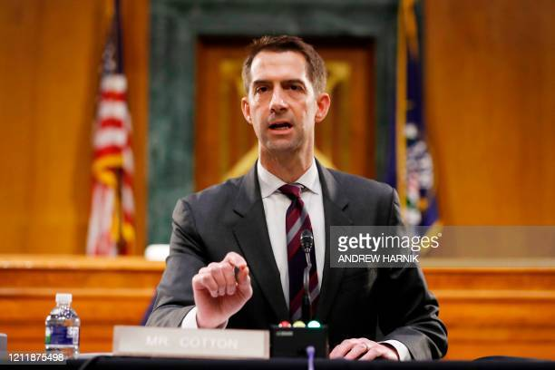 Sen. Tom Cotton, R-AR speaks during a Senate Intelligence Committee nomination hearing for Rep. John Ratcliffe, R-TX, on Capitol Hill in...