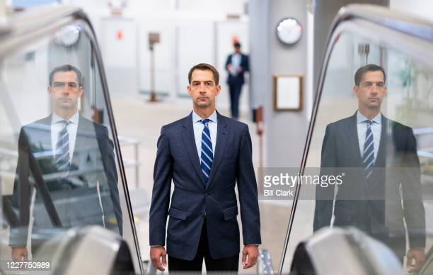 Sen. Tom Cotton, R-Ark., arrives in the Capitol for a vote on Thursday, July 23, 2020.