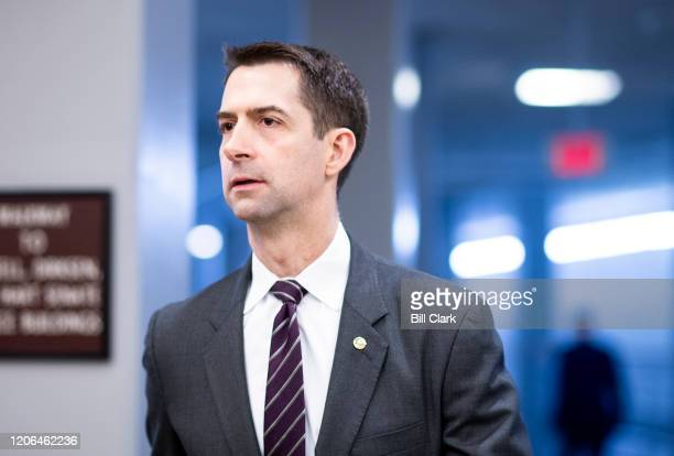 Sen. Tom Cotton, R-Ark., arrives in the Capitol for the Senate Republicans lunch on Tuesday, March 10, 2020.