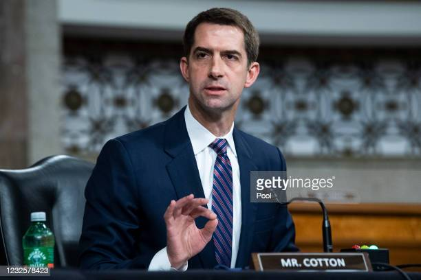 Sen. Tom Cotton, R-Ark., asks a question during the Senate Judiciary Committee confirmation hearing in Dirksen Senate Office Building on April 28,...