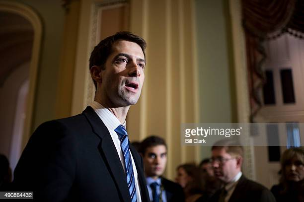 Sen Tom Cotton RArk participates in Senate Majority Leader Mitch McConnell's media availability in the US Capitol with Republican members of the...