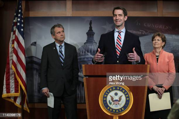 Sen. Tom Cotton speaks as Sen. Sherrod Brown and Sen. Jeanne Shaheen listen during a news conference at the U.S. Capitol April 4, 2019 in Washington,...