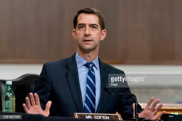 Sen. Tom Cotton speaks during a hearing to examine United States Special Operations Command and United States Cyber Command in review of the Defense...
