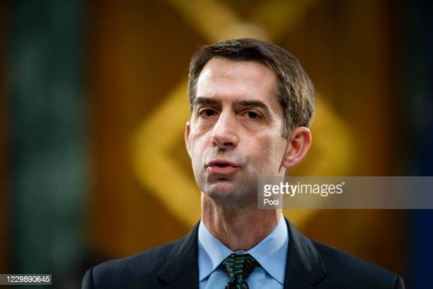 Sen. Tom Cotton speaks during a Senate Banking Committee hearing about the quarterly CARES Act report on Capitol Hill December 1, 2020 in Washington,...