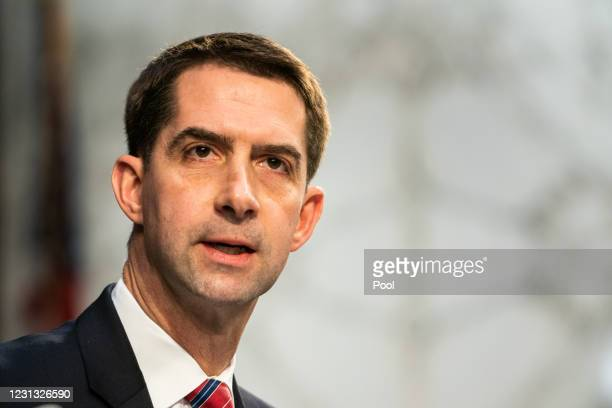 Sen. Tom Cotton speaks during U.S. Attorney General nominee Merrick Garland's confirmation hearing in the Senate Judiciary Committee on Capitol Hill...
