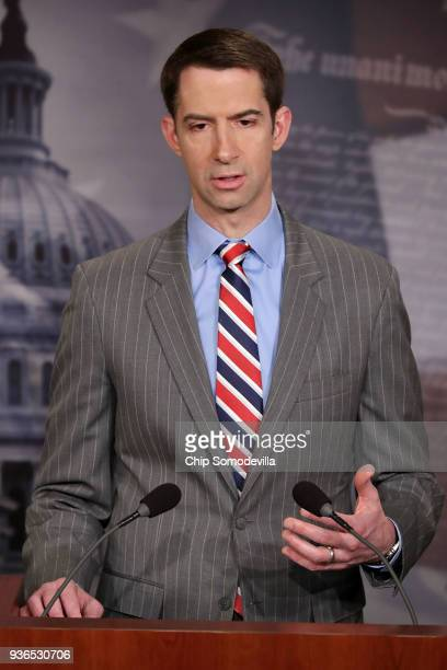 Sen. Tom Cotton speaks to reporters during a news conference at the U.S. Capitol March 22, 2018 in Washington, DC. In an attempt to fight America's...