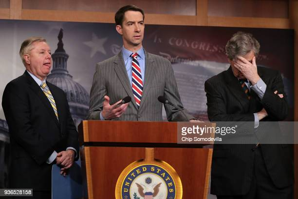 Sen. Tom Cotton speaks to reporters during a news conference with Sens. Lindsey Graham and John Kennedy in the U.S. Capitol March 22, 2018 in...