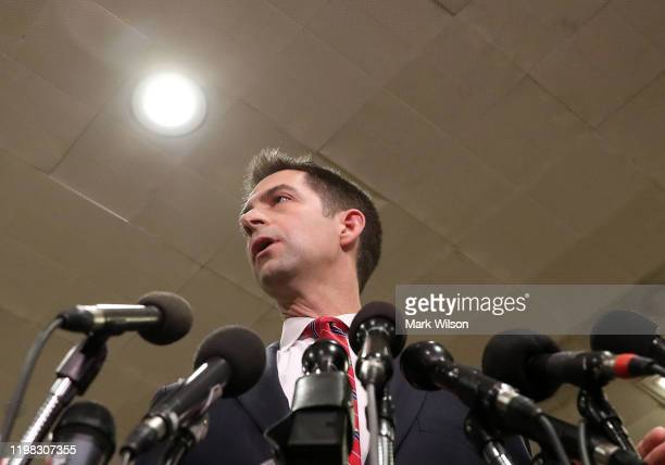 Sen. Tom Cotton speaks to the media after attending a briefing with administration officials about the situation with Iran, at the U.S. Capitol on...