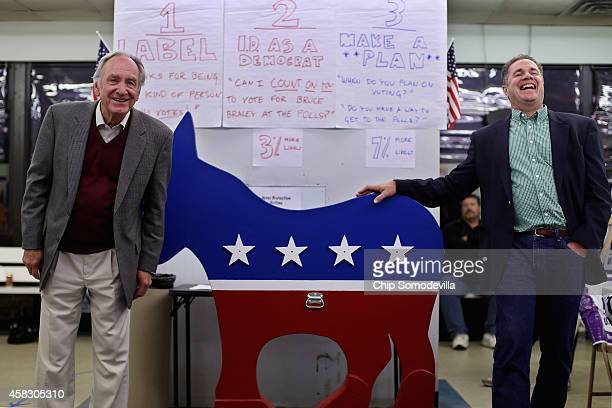 Sen Tom Harkin and Democratic US Senate candidate Rep Bruce Braley meet with campaign volunteers and workers at the Des Moines County Democratic...