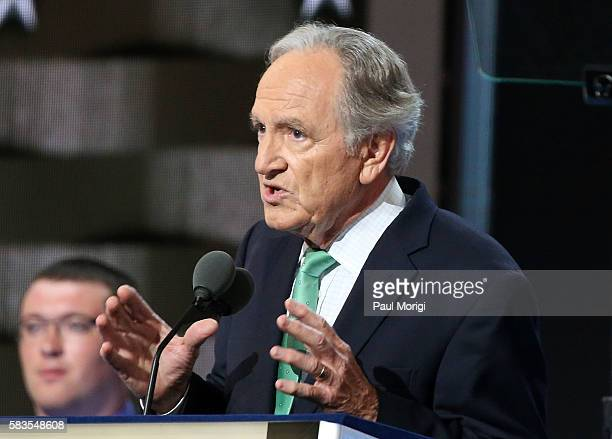 Sen Tom Harkin delivers a speech on the second day of the Democratic National Convention at the Wells Fargo Center on July 26 2016 in Philadelphia...