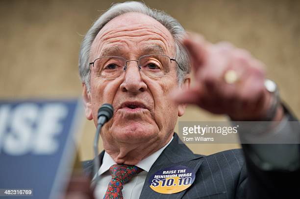 Sen Tom Harkin DIowa speaks at an event in the Capitol Visitor Center to call on the minimum wage to be increased to $1010 per hour