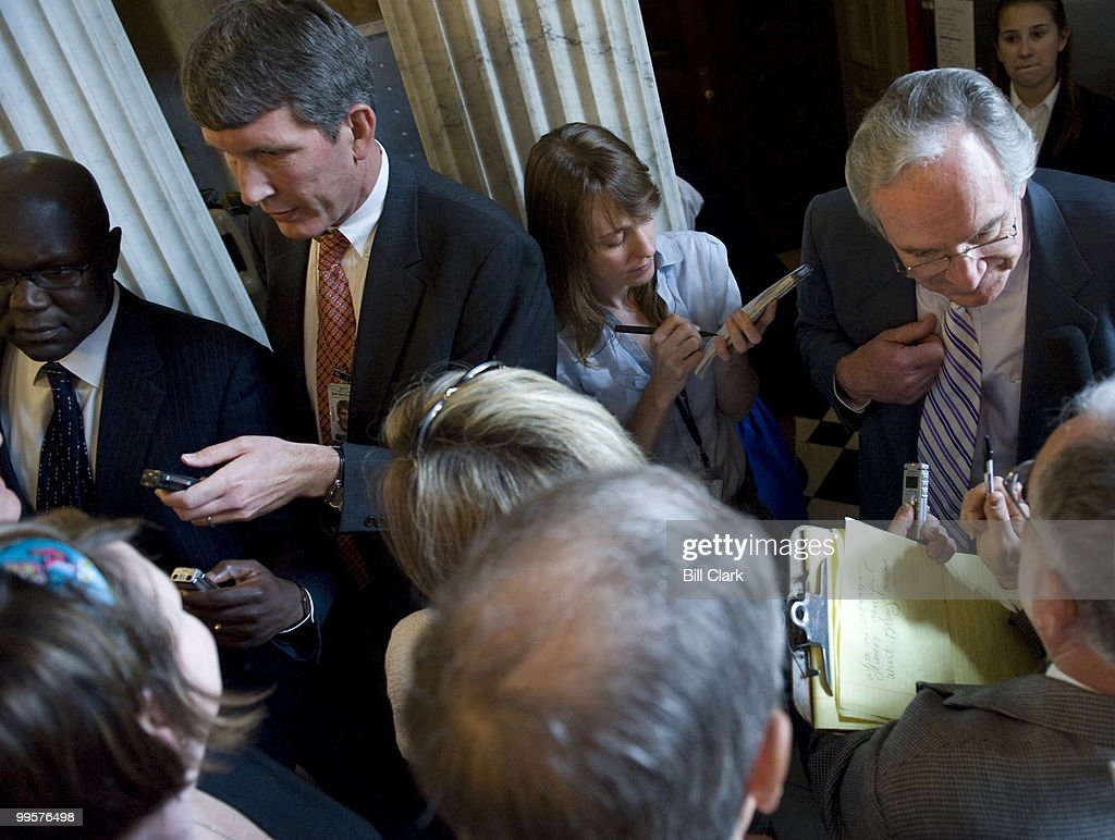 Sen. Tom Harkin, D-Iowa, speaks with reporters in the Capitol as he makes his way to the Senate Democratic policy lunch on Tuesday, June 3, 2008.