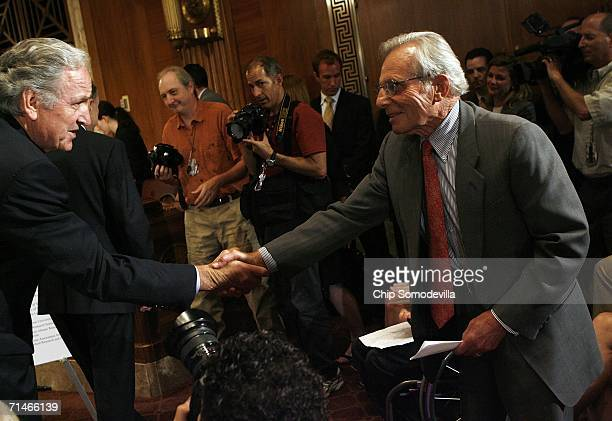 Sen. Tom Harkin greets Parkinson's Action Network Board of Directors member Frank Carlucci during a news conference in the run up to a series of...