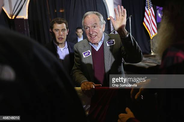 S Sen Tom Harkin greets supporters during a fundraising event for Senate Democratic candidate Rep Bruce Braley at the Electric Park Ballroom November...