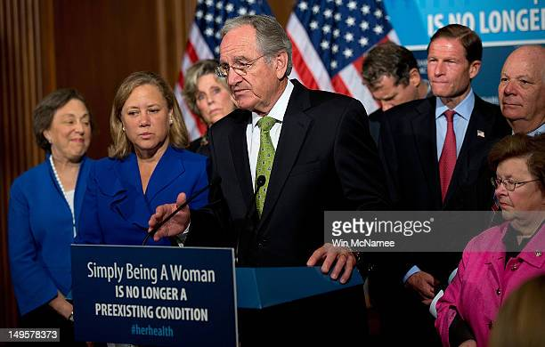 Sen Tom Harkin joins Democratic senators at a news conference on Capitol Hill July 31 2012 in Washington DC Mikulski and members of the Democratic...