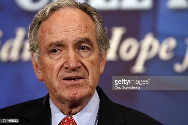 Sen. Tom Harkin participates in a news conference in the run up to a series of Senate votes on stem cell research on Capitol Hill July 17, 2006 in...