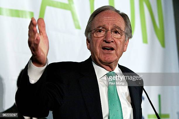 Sen Tom Harkin says a few words to the audience at the Eunice Kennedy Shriver Act support reception at the Hart Building on January 27 2010 in...