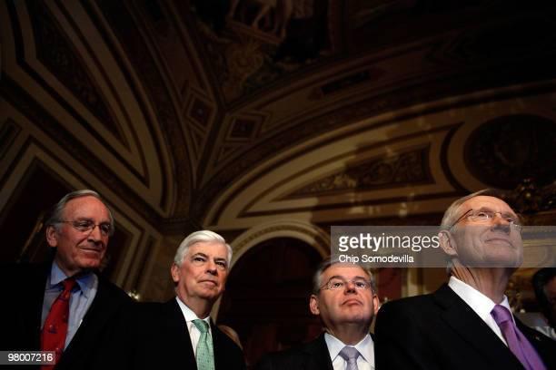 Sen Tom Harkin Sen Christopher Dodd Sen Robert Menendez and Senate Majority Leader Harry Reid hold a news conference about the benefits to seniors in...