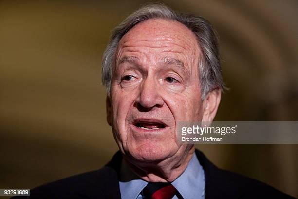 Sen Tom Harkin speaks at a news conference following the Senate's cloture vote on health care reform legislation on Capitol Hill on November 21 2009...