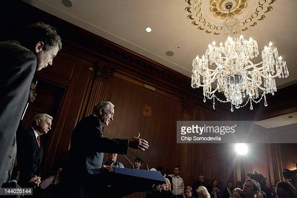 S Sen Tom Harkin speaks during a news conference with Sen Jack Reed and Sen Sherrod Brown and Sen Jack Reed about the student loan bill currently...