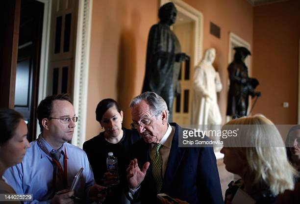 Sen Tom Harkin speaks with reporters after a news conference about the student loan bill currently being debated by US Senate at the US Capitol May 8...
