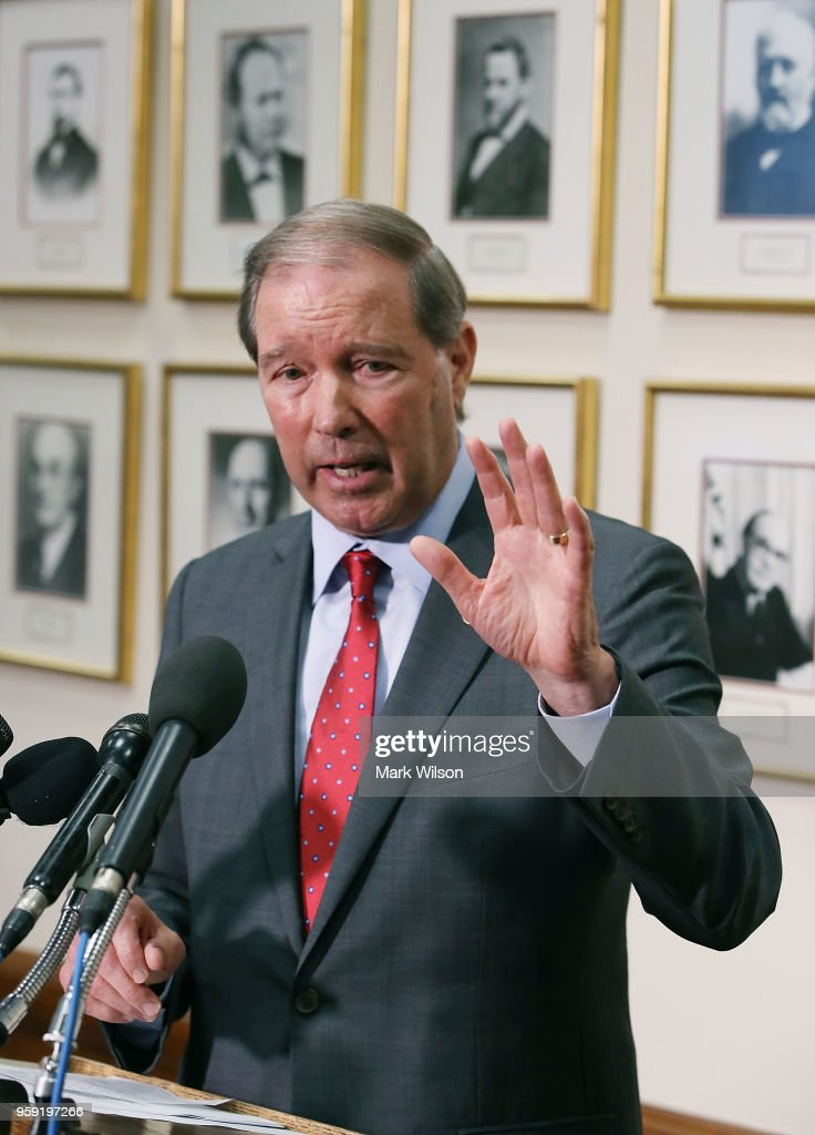 Sen. Tom Udall (D-NM) speak to the media about EPA Administrator Scott Pruitt's FY2019 budget request after a Senate Appropriations Subcommittee hearing ended, on May 16, 2018 in Washington, DC. Pruitt was questioned about a number of scandals during his time leading the EPA.