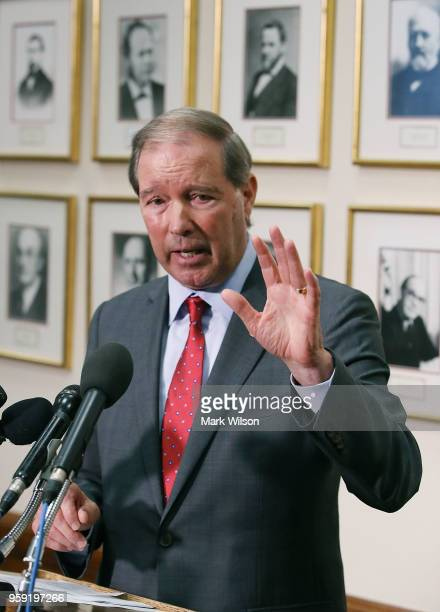 Sen Tom Udall speak to the media about EPA Administrator Scott Pruitt's FY2019 budget request after a Senate Appropriations Subcommittee hearing...