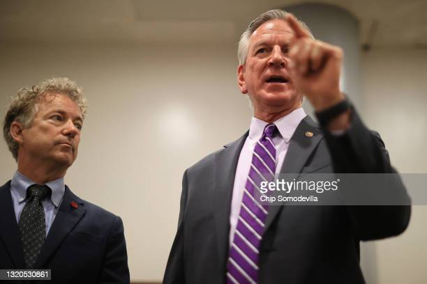 Sen. Tommy Tuberville and Sen. Rand Paul speak to reporters about why they and a small group of Republican senators are holding up votes in the...