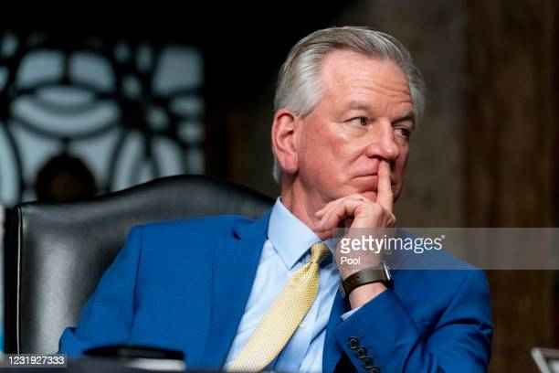 Sen. Tommy Tuberville appears during a hearing to examine United States Special Operations Command and United States Cyber Command in review of the...