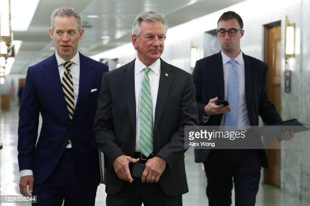 Sen. Tommy Tuberville arrives at a hearing before Senate Armed Services Committee at the U.S. Capitol June 22, 2021 in Washington, DC. The committee...