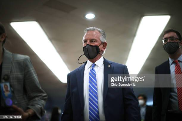 Sen. Tommy Tuberville arrives at the U.S. Capitol on the third day of former President Donald Trump's impeachment trial on February 11, 2021 in...