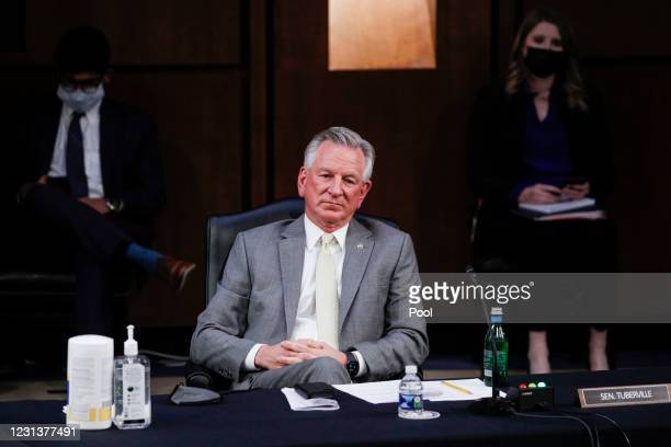 Sen. Tommy Tuberville attends the confirmation hearing for Vivek Murthy and Rachel Levine before the Senate Health, Education, Labor, and Pensions...