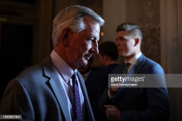 Sen. Tommy Tuberville departs from a luncheon with Senate Republicans in the U.S. Capitol building on August 05, 2021 in Washington, DC. The Senate...