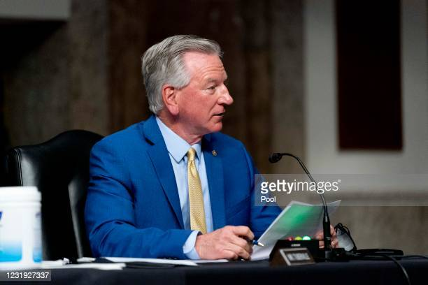 Sen. Tommy Tuberville speaks at a hearing to examine United States Special Operations Command and United States Cyber Command in review of the...