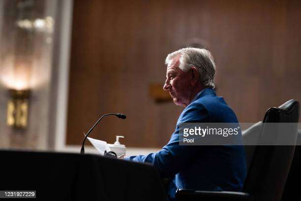 Sen. Tommy Tuberville speaks during a Senate Armed Services Committee hearing March 25, 2021 on Capitol Hill in Washington DC. The committee is...