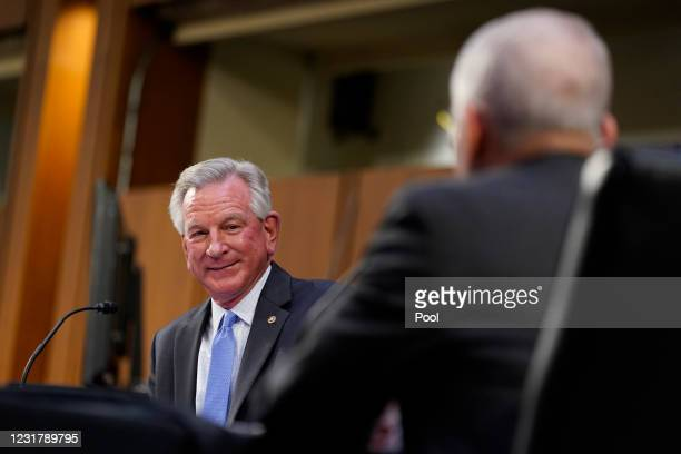 Sen. Tommy Tuberville speaks during a Senate Health, Education, Labor and Pensions Committee hearing on the federal coronavirus response on Capitol...