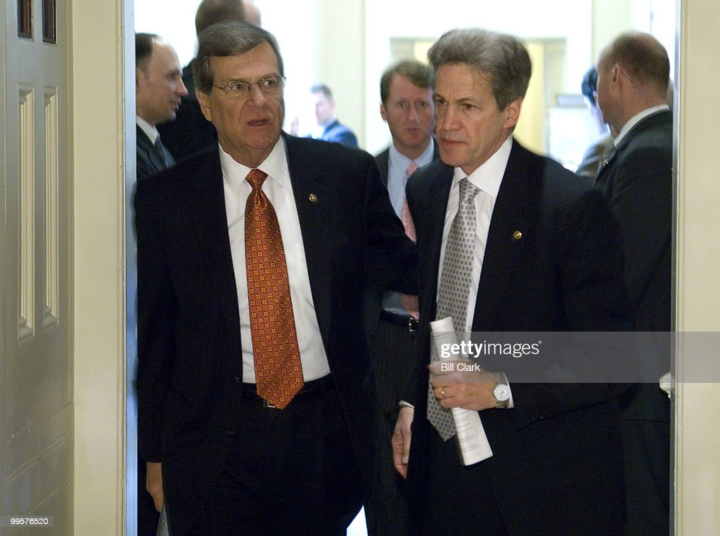 Sen. Trent Lott, R-Miss., and Sen. Norm Coleman, R-Minn., leave the weekly Senate Republican Policy Committee luncheon on Tuesday, April 17, 2007.