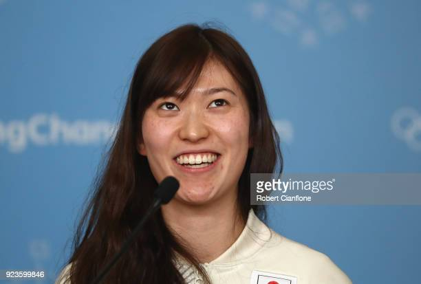 Sena Suzuki of Japan Women's Ice Hockey team speaks to the media during a press conference on day 15 of the PyeongChang 2018 Winter Olympic Games on...