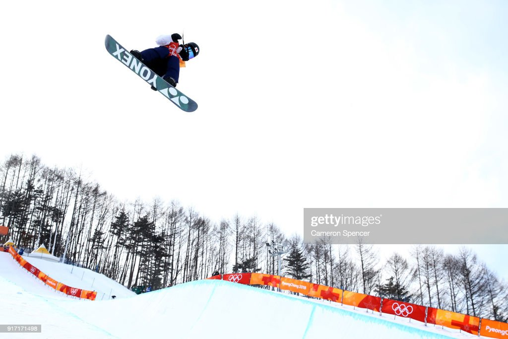 Sena Tomita of Japan competes in the Snowboard Ladies' Halfpipe Qualification on day three of the PyeongChang 2018 Winter Olympic Games at Phoenix Snow Park on February 12, 2018 in Pyeongchang-gun, South Korea.