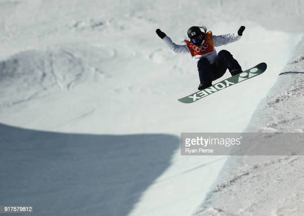 Sena Tomita of Japan during her run during the Snowboard Ladies' Halfpipe Final on day four of the PyeongChang 2018 Winter Olympic Games at Phoenix...