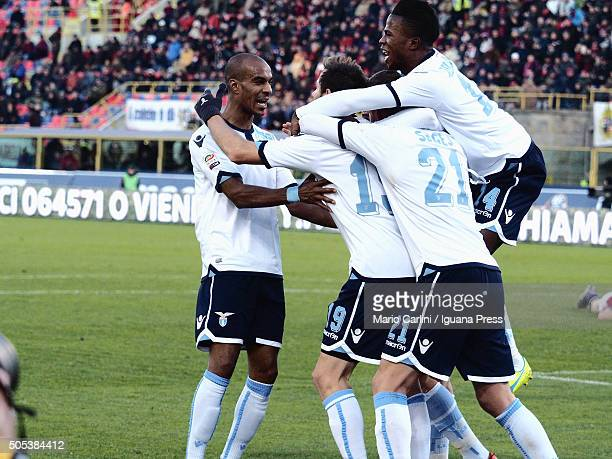 Senad Lulic 19 of SS Lazio celebrates after scoring his team's second goal during the Serie A match between Bologna FC and SS Lazio at Stadio Renato...
