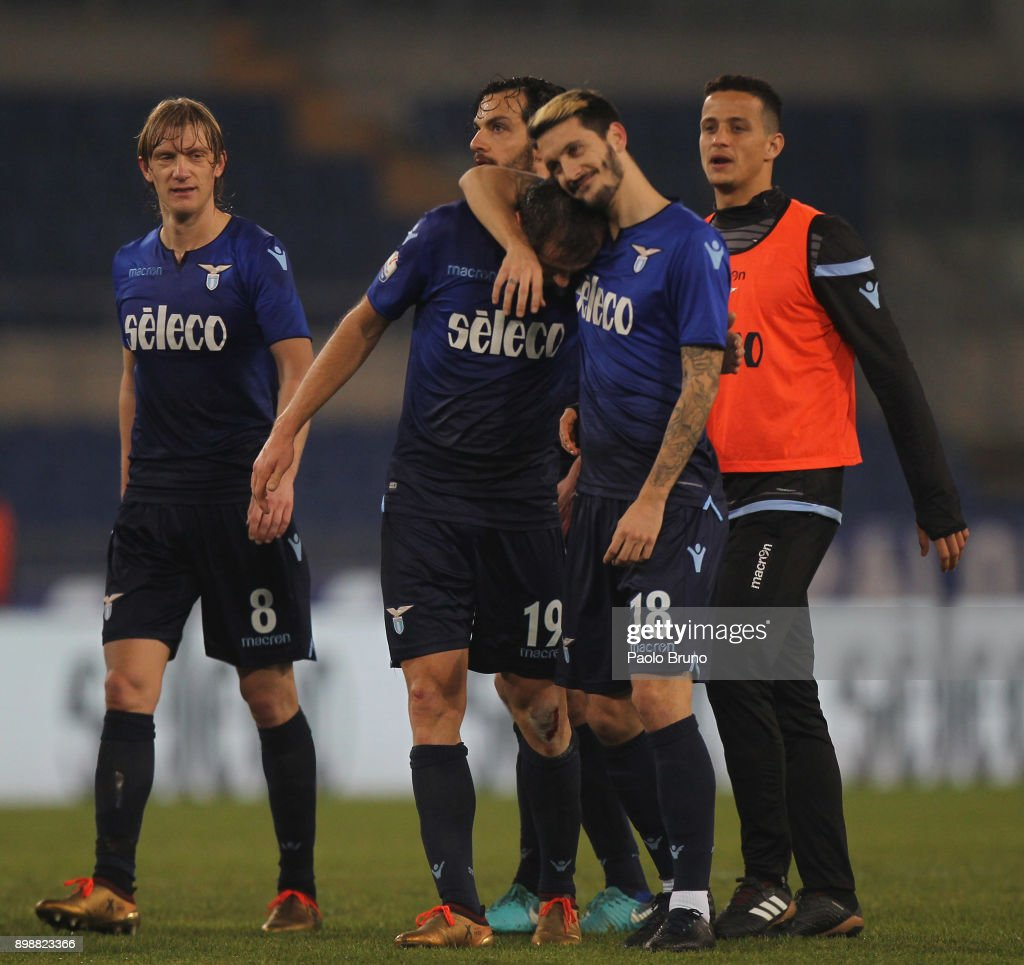 Senad Lulic and Luis Alberto of SS Lazio celebrates after the TIM Cup match between SS Lazio and ACF Fiorentina at Olimpico Stadium on December 26, 2017 in Rome, Italy.