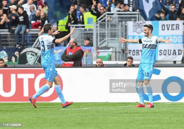 Senad Lulic celebrates after scoring goal 40 during the Italian Serie A football match between SS Lazio and Parma at the Olympic Stadium in Rome on...