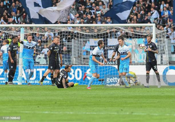 Senad Lulic kicks goal goal 40 during the Italian Serie A football match between SS Lazio and Parma at the Olympic Stadium in Rome on march 17 2019