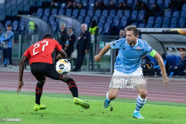Senad Lulic of Lazio seen in action during the UEFA Europa League match between SS Lazio and Stade Rennais FC at Olimpico Stadium