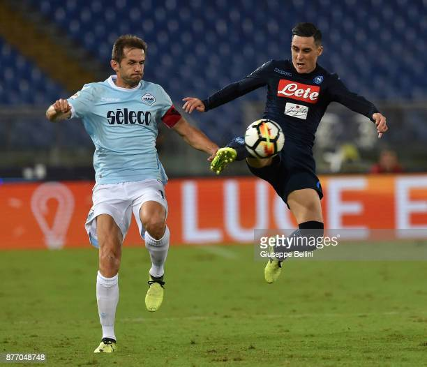 Senad Lulic of SS Lazio and Josè Maria Callejon of SSC Napoli in action during the Serie A match between SS Lazio and SSC Napoli at Stadio Olimpico...