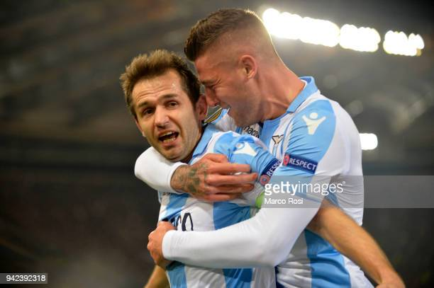 Senad Lulic of SS Lazio celebrates a opening goal during the UEFA Europa League quarter final leg one match between SS Lazio and RB Salzburg at...