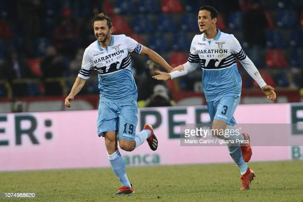 Senad Lulic of SS Lazio celebrates after scoring his team's second goal during the Serie A match between Bologna FC and SS Lazio at Stadio Renato...